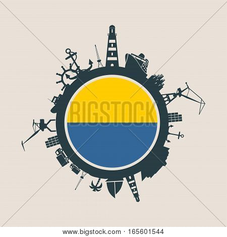 Circle with sea shipping and travel relative silhouettes. Vector illustration. Objects located around the circle. Industrial design background. Algeciras flag in the center.