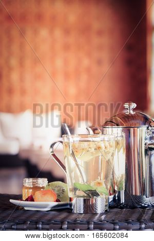 Camomile Tea With Dried Fruits. Spa Time Concept. Spa Lounge Area.