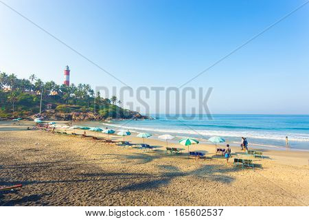 Kovalam Beach Chairs Umbrellas Waterfront Sand