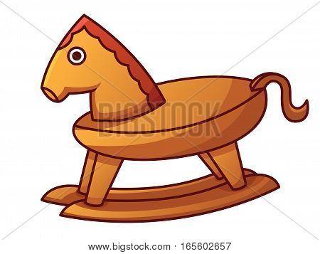Rocking Horse Toy Cartoon Isolated on White