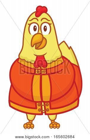 Rooster Wearing Chinese Traditional Cloth Cartoon Illustration