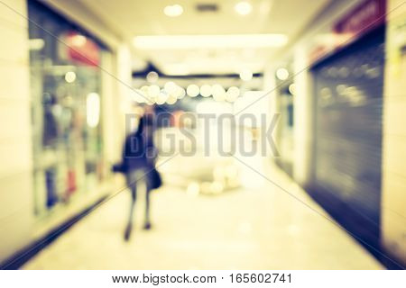 Blur Background,customer Walk In Department Store For Shopping
