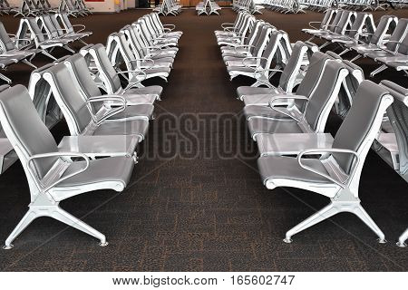 row of seats in transportation terminal, airport