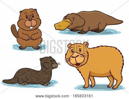 Semiaquatic Animals Cartoon Set. Beaver Platypus Otter and Capybara Vector Illustration.