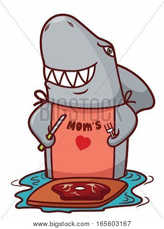 Shark with Knife and Fork Going to Eat Steak Cartoon Illustration