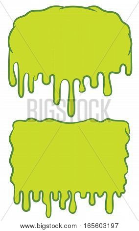 Slime Blank Background Sign Cartoon. Vector Illustration Isolated on White.