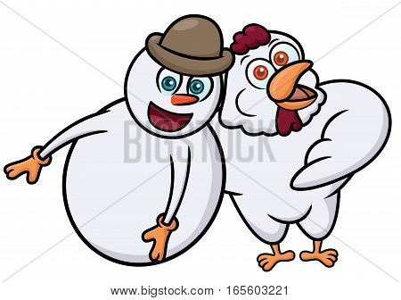 Snowman and Rooster Cartoon Illustration Isolated on White