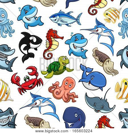 Sea animals and cartoon ocean fishes seamless pattern of vector whale, shark and dolphin, octopus and squid, turtle and stingray, hammerhead and swordfish, seahorse and crab with tuna or piranha, cachalot and killer whale or orca, butterflyfish