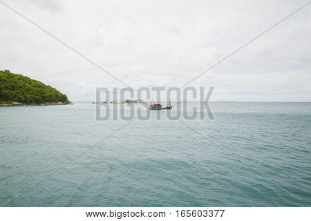Fishing Ship Sails In The Gulf Of Thailand.