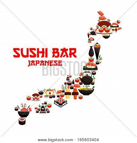 Seafood in Japan map of sushi rolls and salmon sashimi, wok steamed rice with shrimps and miso soup bowl with fish, nori seaweed, wasabi and soy sauce bottle, chopsticks and green tea pot. Vector oriental japanese cuisine design