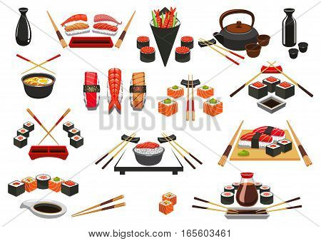 Sushi rolls, sashimi and seafood emblems. Japanese oriental cuisine food of salmon fish and shrimp, steamed rice and miso soup, seafood bento, green tea, wasabi and soy sauce, chopsticks. Sushi bar menu symbols or vector isolated icons