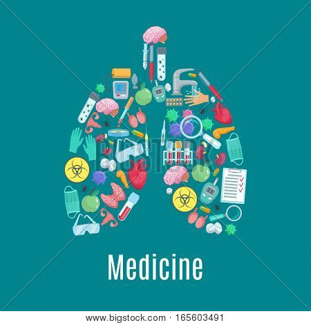 Medical poster designed of medicine items and tools in symbol of lungs. Vector surgery medications syringe, pills, tests and glasses, heart, brain and kidney, uterus and testicles, bladder human organs, tonometer and glucometer, bacterium or virus