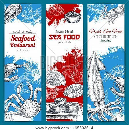 Seafood banners set. Vector sketch lobster and crab, shrimp and squid, sushi rolls and sashimi with red caviar. Design for seafood restaurant, japanese oriental sushi bar or fishery market, store or shop