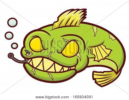 Creepy Zombie Fish Cartoon Isolated on White