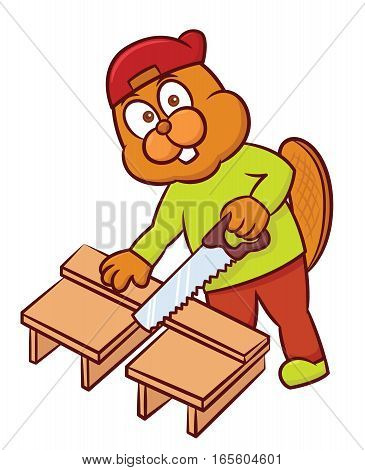 Beaver Craftsman Cutting Wood Plank with Hand Saw Cartoon Illustration Isolated on White