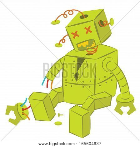 Broken Green Robot Cartoon Character Isolated on White Background
