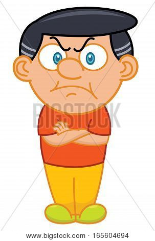 Grumpy Old Man with Hands Crossed Cartoon Character. Vector Illustration Isolated on White.