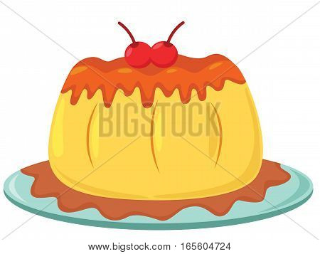 Delicious Pudding Served on A Plate Cartoon Illustration