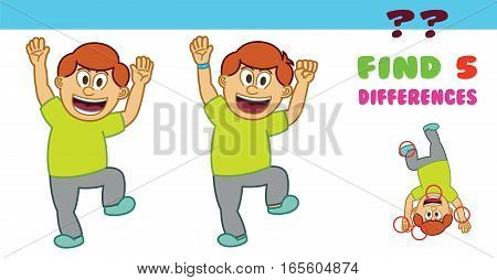 Happy Boy Find the Difference Game for Children Cartoon Illustration