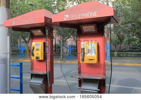 SHANGHAI CHINA - OCTOBER 30, 2016: China telecom public phone.