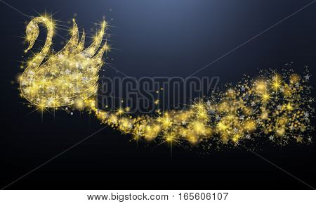 Golden sparkle jewelry swan bird floating with glittering stars pattern in advertisement promotion or seasonal holiday celebration isolated black background create by vector