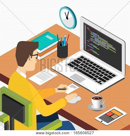 Person working on computer. Programming or coding concept. Modern isometric illustration for Web Banner Website Element Brochures or Book cover
