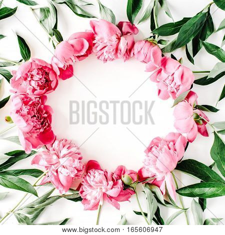 Wreath frame of pink peonies. Flat lay top view