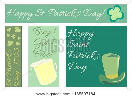 Vector set of a St. Patrick's Day's day banners for your design. Party Invitation templates, Greeting Cards or Flyers. Irish Four leaf clover. Vector banners.
