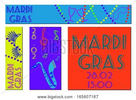 Vector Mardi Gras banners set. Vertical, horizontal and square banners.  Mardi Gras celebration.
