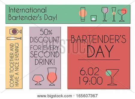 Vector banners for International Bartender's Day . Stemware outline set for your design.