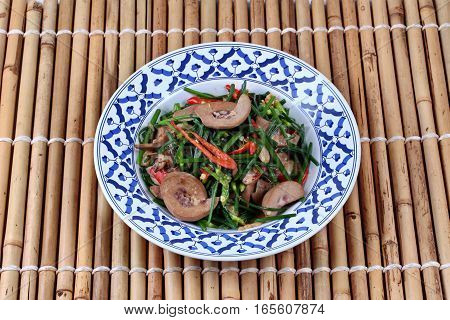 Spicy Fried Chinese Chives With Chicken Spleen.