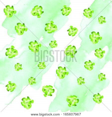 bright green watercolor pansy flowers randomly located