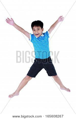 Happy Asian Boy Smiling And Jumping, Isolated On White Background.