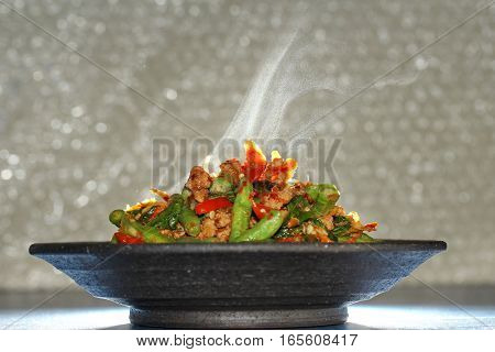 Aroma ,spicy Fried Cowpea With Minced Pork .