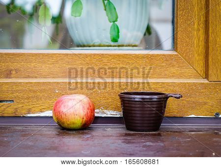 Apple And A Cup With Wooden Window