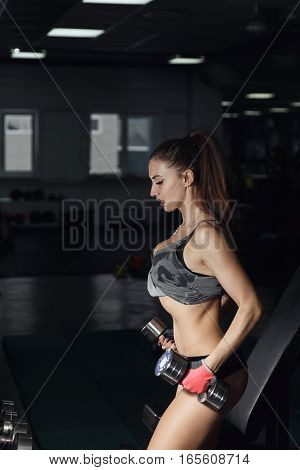 Sexy Fitness Woman In Sport Wear With Perfect Fitness Body In Gym Performing Exercises With Dumbbell