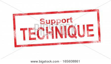 Technical Support In French Translation In Red Rectangular Stamp