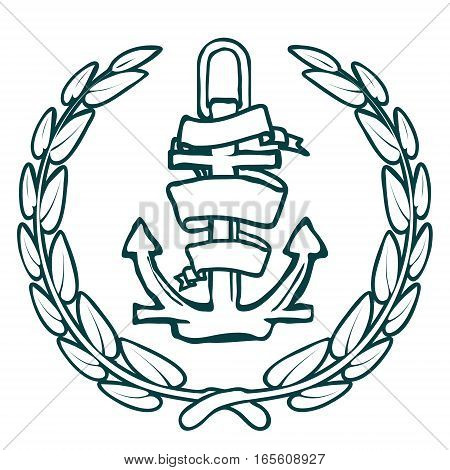 Anchor with Banner and laurel. Vector illustration