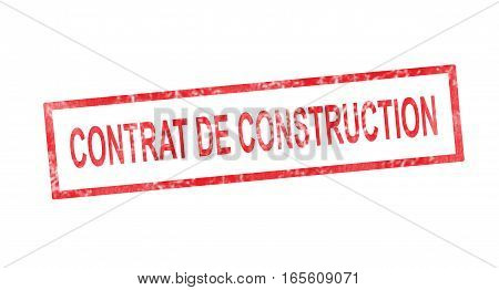 Construction Contract In French Translation In Red Rectangular Stamp
