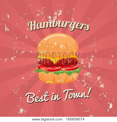 Vintage Hamburger Poster Vector illustration Gunge on separate layer