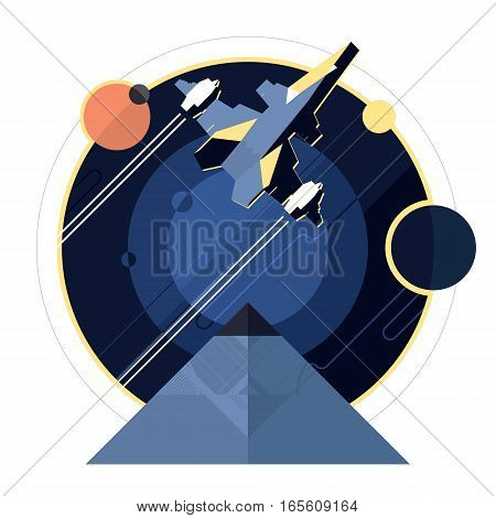 Spacecraft, spaceship in space, planet and pyramid, star war