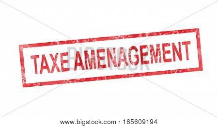 Improvement Tax In French Translation In Red Rectangular Stamp