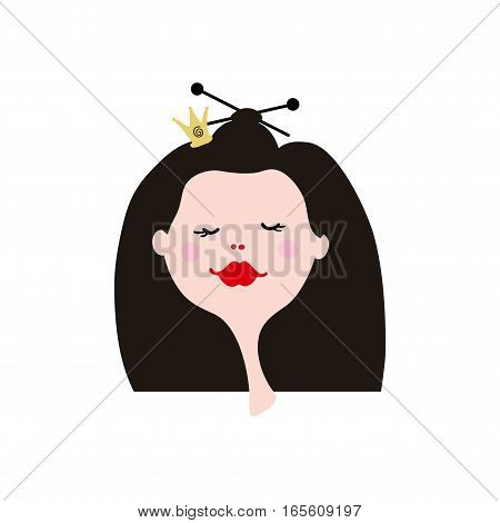 Cartoon girl face on white background. Young Princess in crown. Funny avatar for girl.