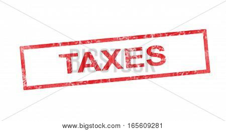 Taxes writing in a red rectangular stamp