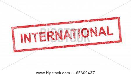International writing in a red rectangular stamp