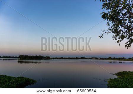 Beautiful sunrise on the lake. Nature .