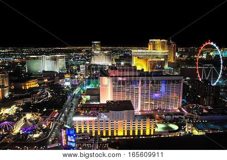 VEGAS NEVADA USA - January 11th 2016: Vegas view at night with high roller Flamingo Venetian Mirage and other hotels