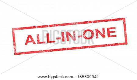 All In One In Red Rectangular Stamp