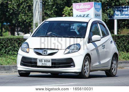CHIANG MAI THAILAND - NOVEMBER 18 2016: Private Eco car Honda Brio. On road no.1001 8 km from Chiangmai city.