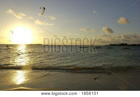 Kitesurfing In The Sunset